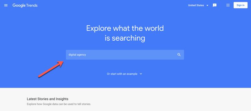 kolom pencarian Google Trend